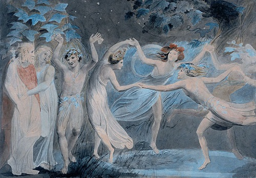 William Blakes mystic art. Oberon, Titania and Puck with Fairies Dancing (1786)
