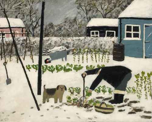 Parsnips, Sprouts & Greens. Naive Painting by contemporary British artist Gary Bunt