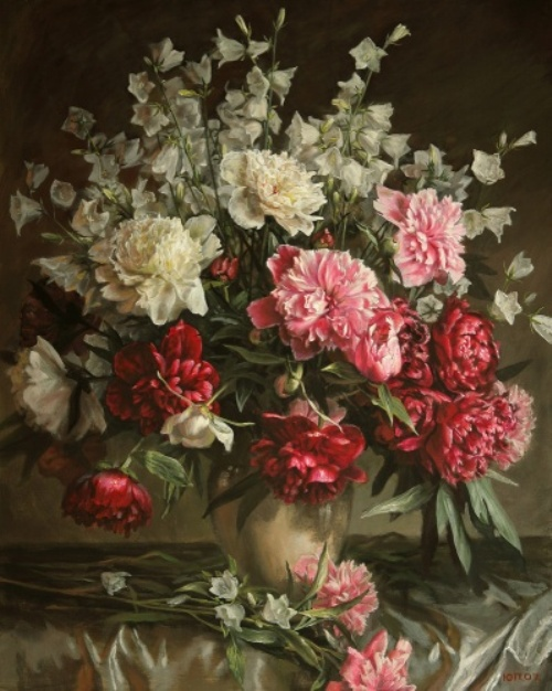 Peonies and white bells, 2007. Painting by Yuri Pantsyrev