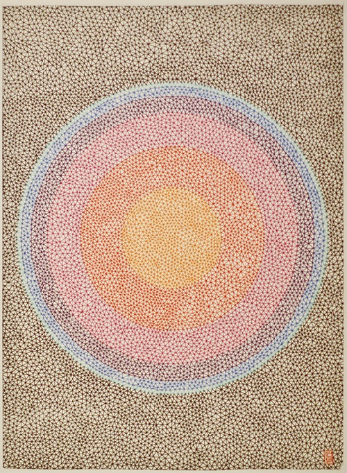 Planck particle. 0.05 colored pigma micron pen on paper. Romanian painter Rosu-Gutman Daniel
