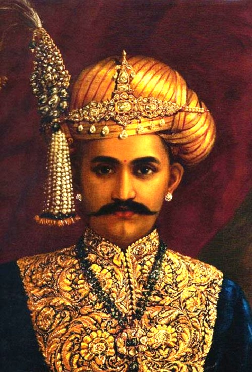 Portrait of Sri Chamarajendra Wadiyar in zardozi embroidered suit