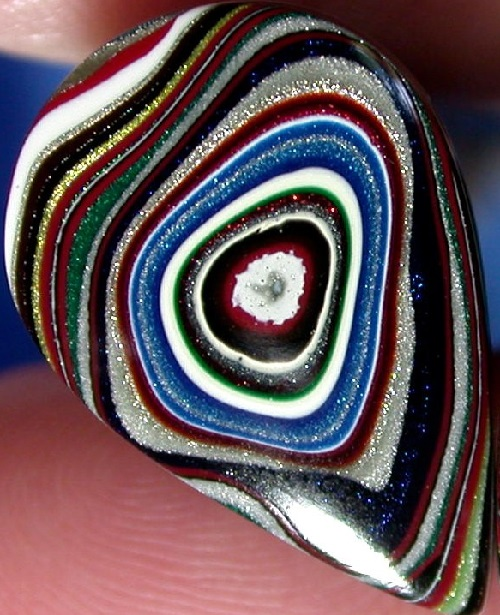 Psychedelic handmade agate Fordite, or Motor Agate