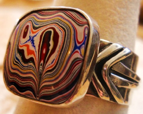 Psychedelic patterns of Fordite jewelry
