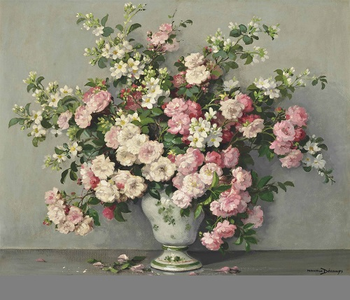 Rambling roses in a vase. French artist Maurice Decamps (1892–1953)