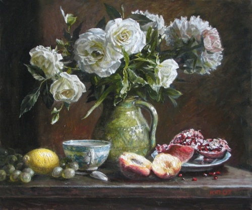 Realistic still life with flowers and fruits, 2007. Painting by Yuri Pantsyrev