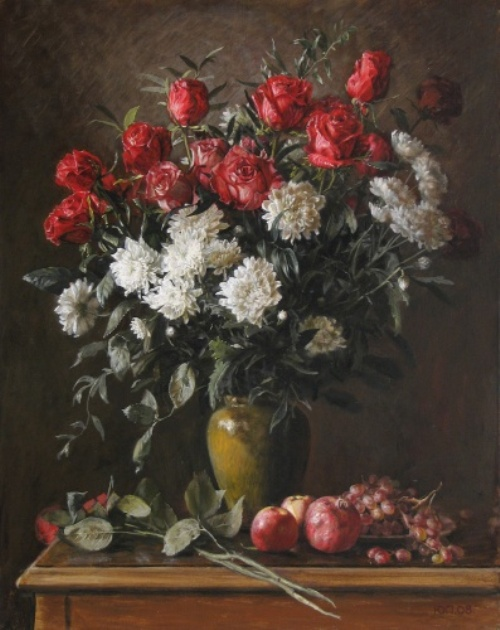Red and white bouquet, 2008. Painting by Yuri Pantsyrev