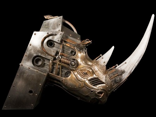 Rhino's head. Steampunk Sculpture by French artist Pierre Matter