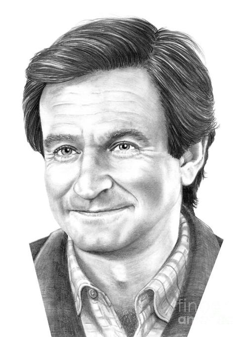 Robin Williams in pencil drawing by Murphy Elliott