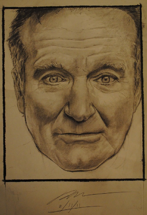Robin Williams in pencil drawing by Plishman