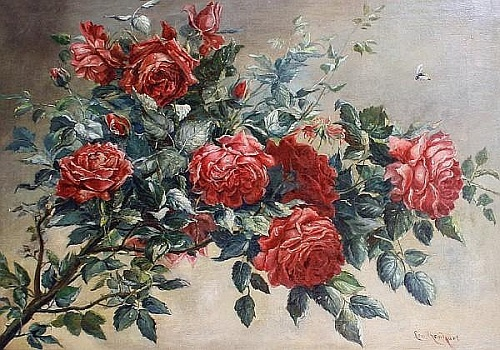 Roses on branch. Austrian painter Lea Reinhart (Brünn 1877-1970 Vienna)