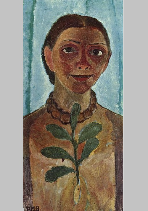 Self-Portrait with Camellia twig. 1907 Museum Folkwang. Essen. German expressionist painter Paula Modersohn-Becker