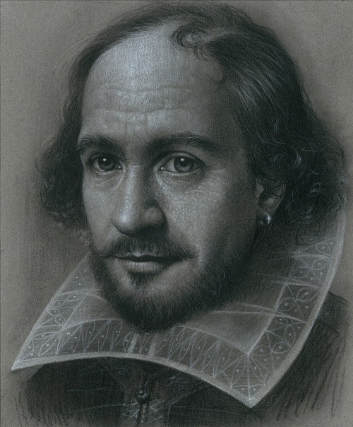 Shakespeare. Charcoal & Colored Pencil on Paper. Painting by South Korean artist JW-Jeong