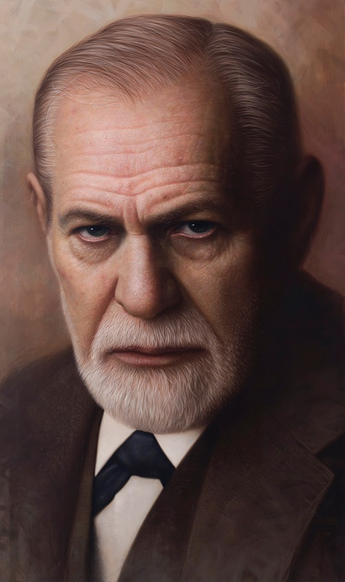 Sigmund Freud. Acrylic on Canvas. Painting by South Korean artist hyper realist Joongwon Charles Jeong
