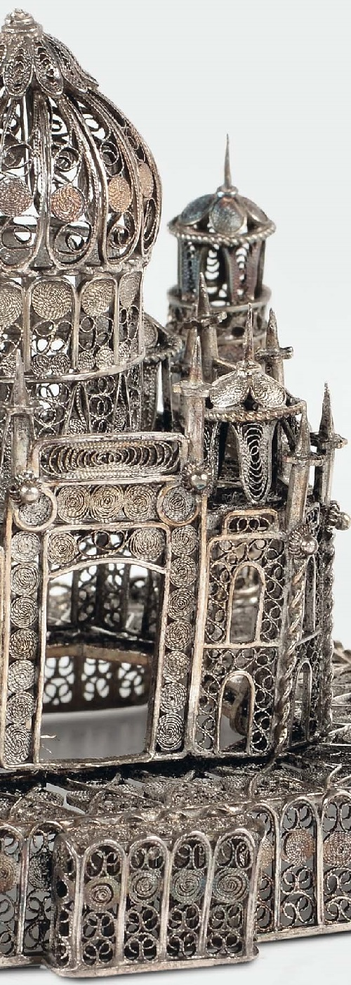 Silver filigree art Taj Mahal model, India 19-20 century