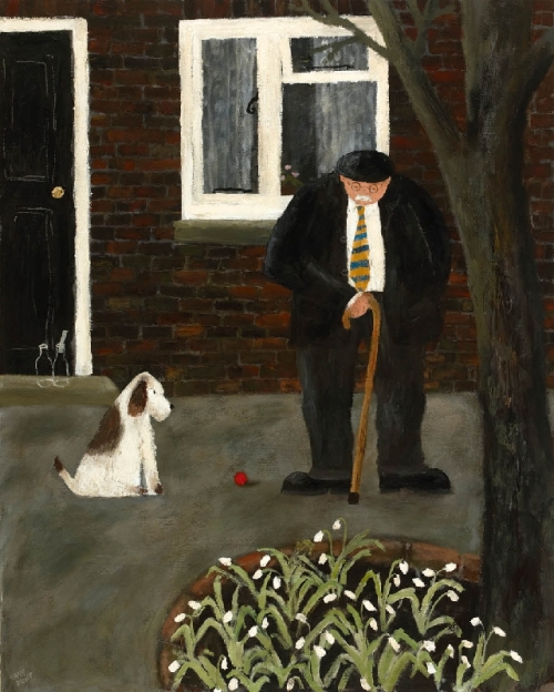 Snowdrops. Naive Painting by contemporary British artist Gary Bunt