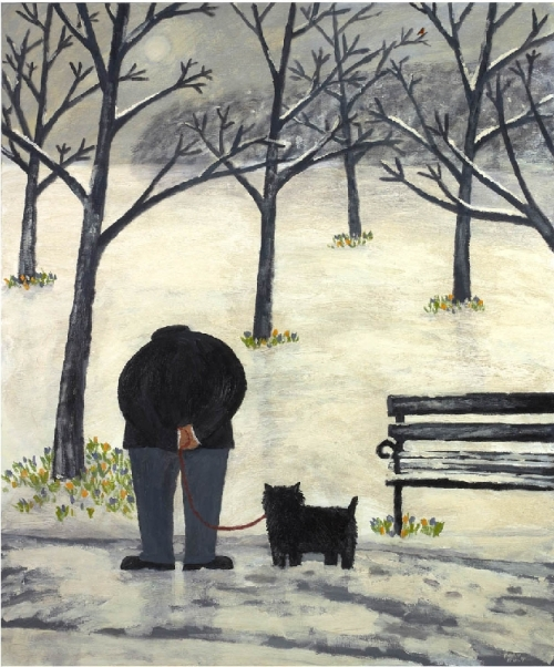 Soon It Will Be Spring. Naive Painting by contemporary British artist Gary Bunt