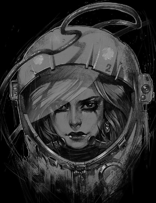 Spacewoman. Drawing by Russian tattoo artist and illustrator Alex Sorsa