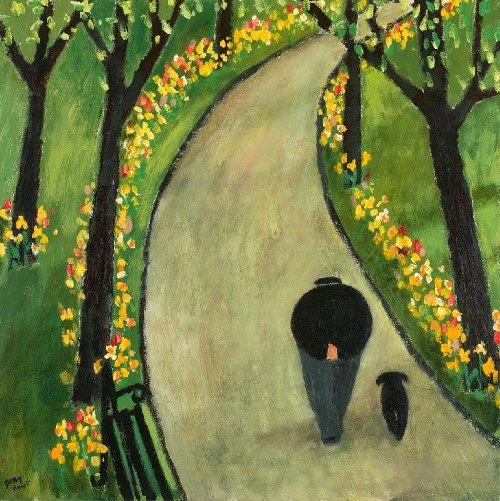 Spring. Naive Painting by contemporary British artist Gary Bunt
