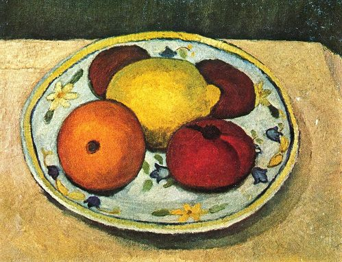 Still Life with lemon, orange and tomato. Approx. 1906-1907. private collection. Painting by German artist Paula Modersohn-Becker
