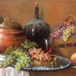 Grapes and peaches. Still life painting by Brazilian self-taught artist Jorge Maciel