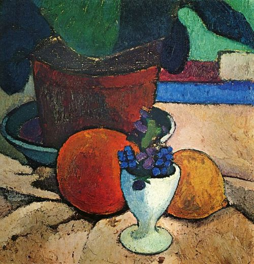 Still life with potted plant, lemon and orange. 1906 Private collection. German expressionist painter Paula Modersohn-Becker