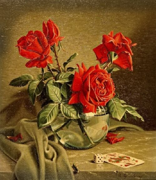 Still life with roses. Oil on canvas. Painting by German artist Wolfgang Grünberg
