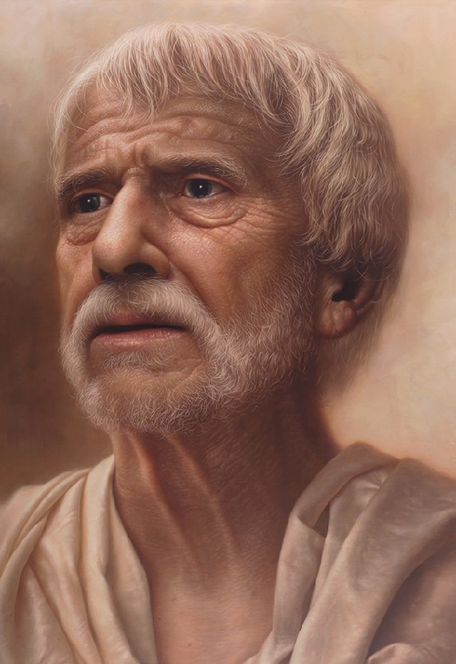 Story of Seneca. Acrylic on canvas. Painting by South Korean artist hyper realist JW-Jeong