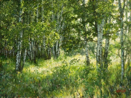 Summer day in a birch wood. Painting by Yuri Pantsyrev