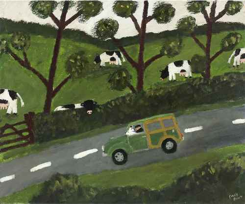 Sunday Driver. Naive Painting by contemporary British artist Gary Bunt
