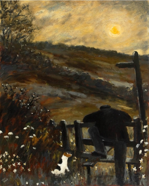 Sunrise. Naive Painting by contemporary British artist Gary Bunt