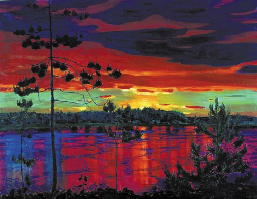 Sunset 1917. Russian painter Arkady Rylov