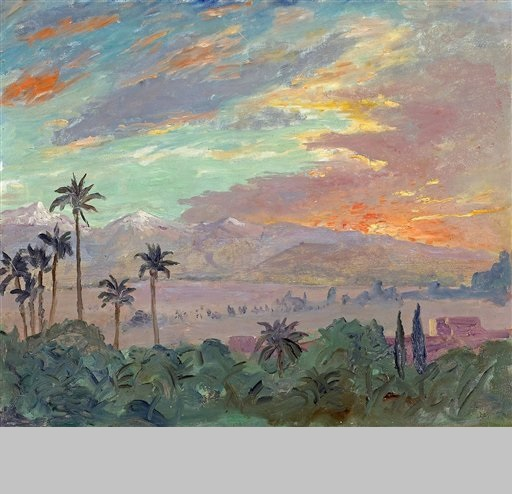 "Bonhams New York auction house - 1935 painting by Winston Churchill of a Moroccan sunset,  ""Sunset Over the Atlas Mountains."" The painting by Winston Churchill of a Moroccan sunset, a view he loved so much that he invited President Franklin D. Roosevelt to see it, has sold for $350,000  (220,000 euros) an auction company"