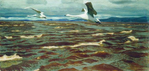 Swans over the Kama, 1920. Soviet/Russian artist Arkady Rylov