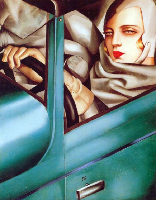 Art Deco Icon Tamara de Lempicka. Self-portrait in a green Bugatti. 1929 Oil on wood
