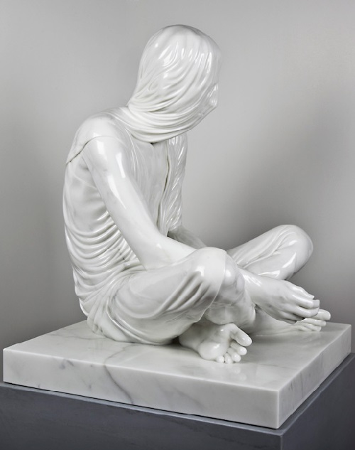 Temporal Sitter. 2011. Carrara Marble. Sculpture by Kevin Francis Gray