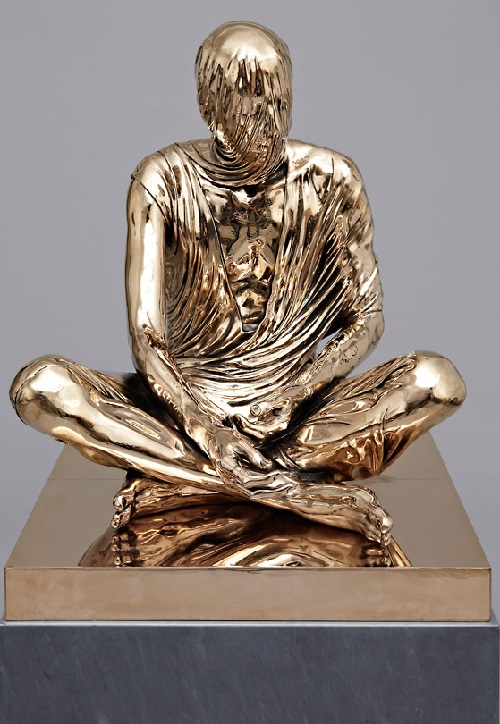 Temporal Sitter. 2012. High Polished Bronze, Bardigilio Marble. Sculpture by Kevin Francis Gray