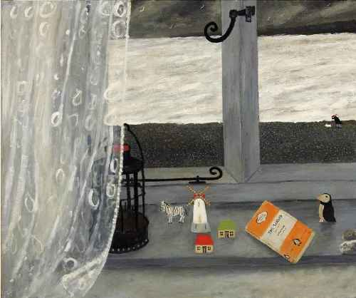 The Boy Who Read Woolf. Naive Painting by contemporary British artist Gary Bunt