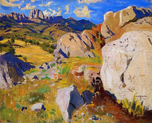 The Crimea mountains. Soviet/Russian artist Arkady Rylov