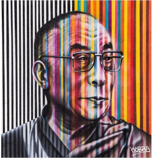 The Dalai Lama. Street art by Eduardo Kobra