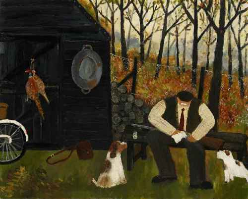 The Gamekeeper. Naive Painting by contemporary British artist Gary Bunt