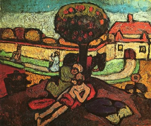 The Good Samaritan. Painting by German artist Paula Modersohn-Becker