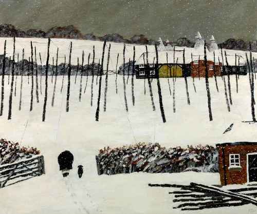 The Hop Garden. Naive Painting by English artist Gary Bunt