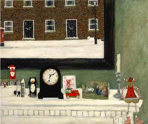The Mantelpiece. Naive Painting by English artist Gary Bunt