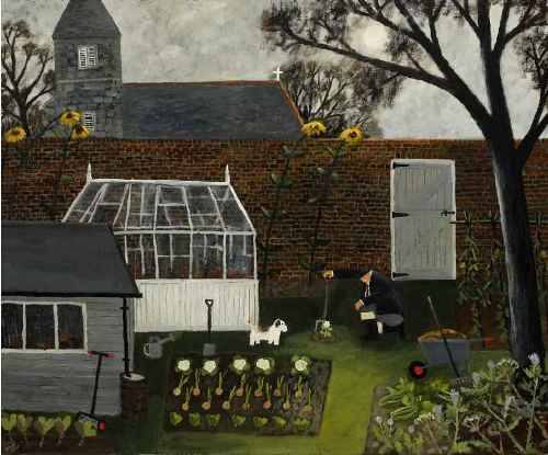The Moonlit Garden. Naive Painting by English artist Gary Bunt