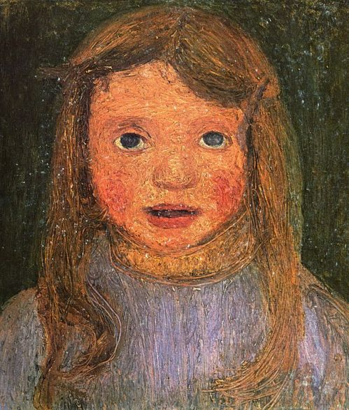 The head of a little girl (Elsbeth). 1902 Private collection. Painting by German artist Paula Modersohn-Becker