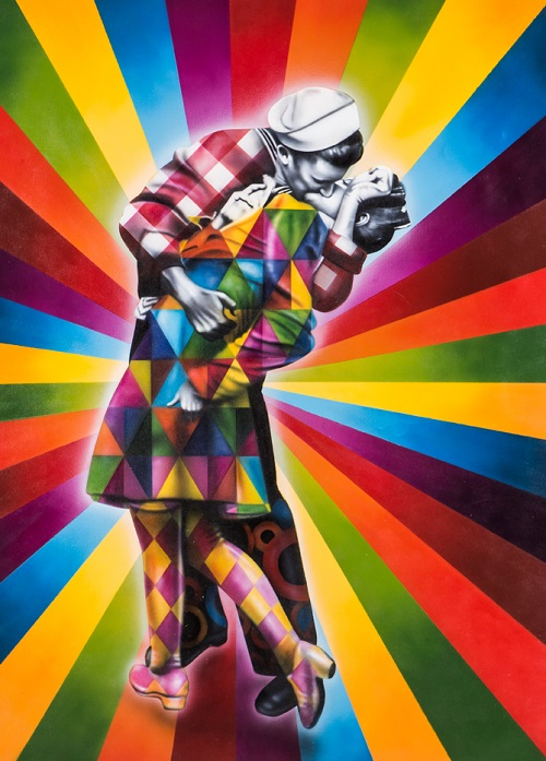 The kiss. Street art in New York, by Eduardo Kobra