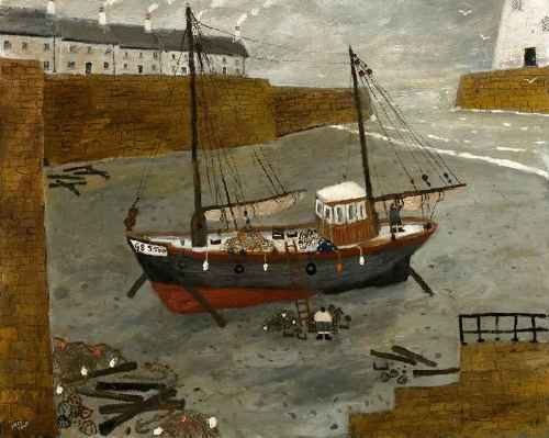 Three Men and a Boat. Naive Painting by English artist Gary Bunt