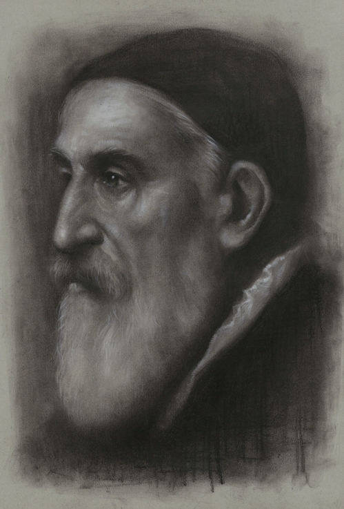 Titian. Charcoal & Pastel on Paper. Painting by South Korean artist JW-Jeong