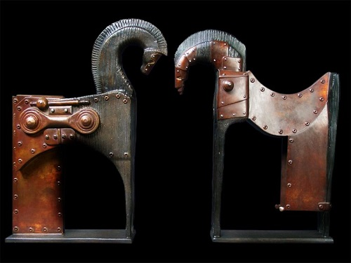 Two Trojans. Steampunk Sculpture by French artist Pierre Matter