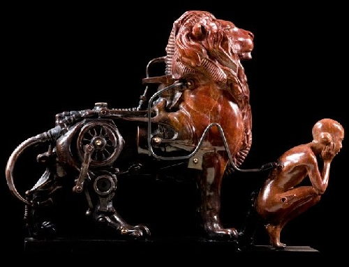 Unbalanced friendship. Steampunk Sculpture by French artist Pierre Matter